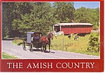 Amish Buggy and Covered Bridge Postcard