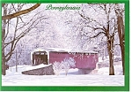 Click here to enlarge image and see more about item cs0116: PA Covered Bridge in Winter Postcard cs0116