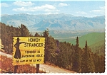 Unique Sign on The Teton Pass, WY Postcard
