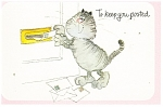 Click here to enlarge image and see more about item cs0239: Comical Cat Mailing Letters Postcard
