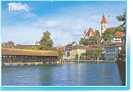 Click here to enlarge image and see more about item cs0308: Thun, Switzerland Castle and Church Postcard