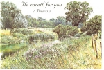 Click here to enlarge image and see more about item cs0330: He Careth for you, 1 Peter 5:2 Postcard