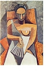 Woman with a Fan, Pablo Ruiz Picasso Postcard