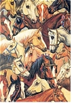 Click here to enlarge image and see more about item cs0384: Horses Galore, A collage of horses Postcard