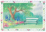 Tree Shaded Bench, Artwork Postcard cs0395
