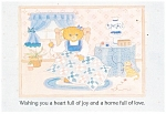 Click here to enlarge image and see more about item cs0409: Teddy Bear Sewing a Quilt Postcard 1 Cor 10:31 cs0409