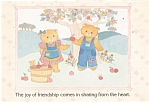 Click here to enlarge image and see more about item cs0410: Teddy Bears Picking Apples Postcard Gal 5:12