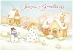Christmas Postcard Snowman, Christmas Tree