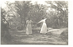 Two Dancing Victorian Women Postcard