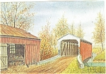 Barn and Bridge Dutch Art Painting Jay McVey Postcard