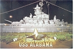 USS Alabama at Night Postcard