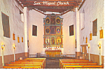 Click here to enlarge image and see more about item cs0874: Santa Fe NM Oldest Church in USA Interior Postcard cs0874