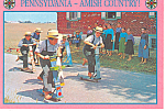 Amish Boys on Scooters Postcard