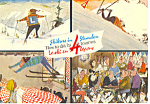 Click here to enlarge image and see more about item cs1011: Learn to Ski in 4 Lessons Postcard 1976