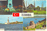 Four Views of Istanbul, Turkey Postcard