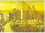 Amish Barn Raising Artwork Postcard cs1043