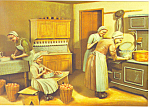 Amish Canning Peaches Artwork Postcard cs1048