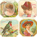 Click here to enlarge image and see more about item cs1293: Victorian Labels Lot of Four 4  cs1293
