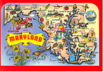 Click here to enlarge image and see more about item cs1340: State Map of Maryland Postcard