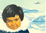 Click here to enlarge image and see more about item cs1352: Eskimo Boy SAS Airline Issue Postcard