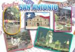 Click here to enlarge image and see more about item CS13759: San Antonio Texas  Alamo River Center Skyline at Nigh9 Postcard CS13758