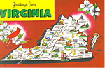 State Map of Virginia  Postcard