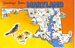 Click here to enlarge image and see more about item cs1520: State Map of Maryland  Postcard