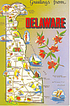 Click here to enlarge image and see more about item cs1524: State Map of Delaware  Postcard cs1524