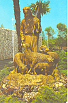 Click here to enlarge image and see more about item cs1652: Statue Garden Grove Church Garden Grove,CA Postcard cs1652