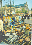 Click here to enlarge image and see more about item cs1944: Flea Market, Brussels, Belgium Postcard