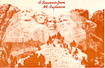 A Souvenir of Mt Rushmore Postcard cs1979 1987