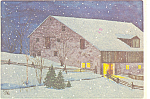 Christmas Card with Snow and Barn Postcard 1978