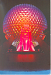 Space Ship Earth at Night Disney World  Postcard