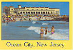 Surfing at Music Pier,Ocean City, New Jersey  Postcard