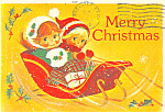 Christmas Kids in Sleigh Postcard