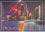 Fireworks over the Chicago Skyline Postcard