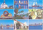 San Diego California Nine Views Postcard cs2342