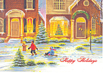 Children with Sled Christmas Postcard cs2473