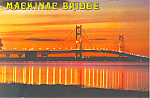 Sunset at Mackinac Bridge MI Postcard cs2560