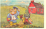 Cats Leaving School by James De Musz Postcard cs2834