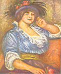 Click here to enlarge image and see more about item cs2847: Auguste Renoir Woman with the Rose Postcard cs2847