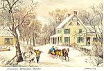 American Homestead Winter ,Currier & Ives Postcard