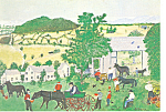 Click here to enlarge image and see more about item cs2867: Grandma Moses Wagon Repair Shop Postcard cs2867