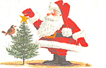 Santa Decorates a Christmas Tree Postcard cs2884
