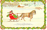 Horse and Sleigh Christmas Postcard cs2890