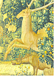 Stag Hyena and Rabbits Tapestry Postcard cs2983