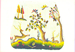 Click here to enlarge image and see more about item cs3241: Cover for a Chair Seat Crewel Embroidery Postcard cs3241