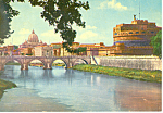 Click here to enlarge image and see more about item cs3284: St Angelo Castle and Bridge Rome Italy Postcard cs3284