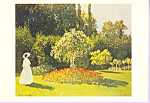 Lady in a Garden Claude Monet Postcard cs3322