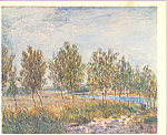 Click here to enlarge image and see more about item cs4008: Poplars on a River Bank Alfred Sisley Postcard cs4008